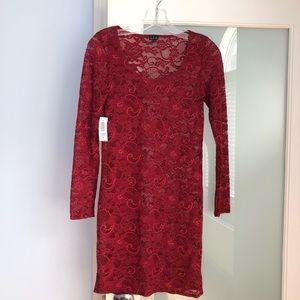 NWT Aritzia Talula burgundy lace dress